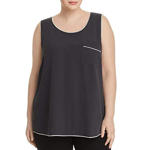 Eileen Fisher Womens Plus Silk Sleeveless Tank Top Gray 3X