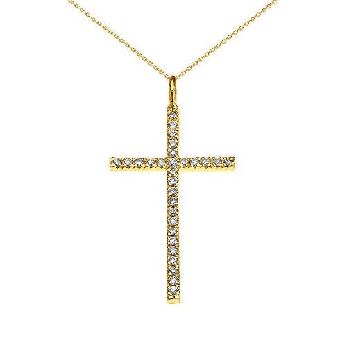 Collier Femme Pendentif 10 Ct Or Jaune Diamant Croix (Livré avec une 45cm Chaîne)