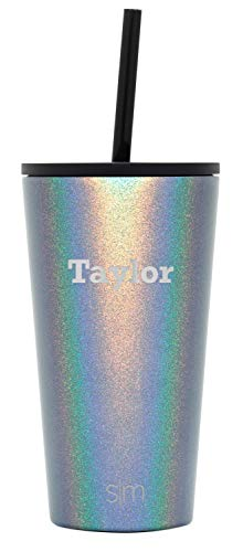 Simple Modern Personalized Gift Tumbler Custom, Classic 16oz - Straw & Flip Lid, Shimmer: Blue Moonstone