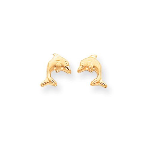 Kids Satin and Diamond-Cut Dolphin Post Earrings in 14k Yellow (Diamond Cut Dolphin Earrings)