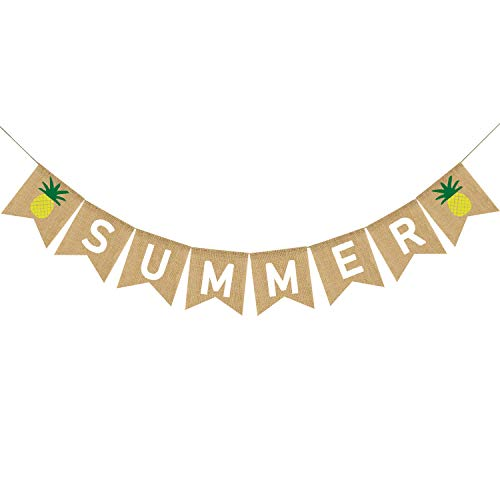 (Summer Banner Burlap, Summer Pineapple Decorations, Summer Decorations, Summer Party Decorations, Summer Party Supplies)