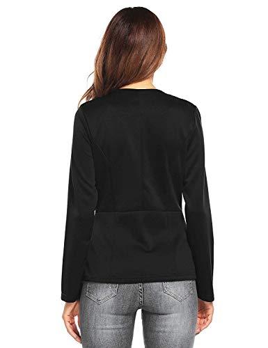 Con Colori Coat Business Slim Moda Solidi Donna Button Elegante Primaverile Retro Schwarz Autunno Asimmetrico Fit Irregolare Giaccone Casuale Manica Cappotto Outerwear Lunga Giacca YxSg6qAwg