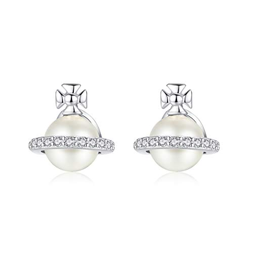 White Gold Planets Pearl Earrings Cubic Zirconia Stud Earrings Nickel Hypoallergenic Free Earrings for Sensitive Ears Teen Girls Fashion Gift w/Box