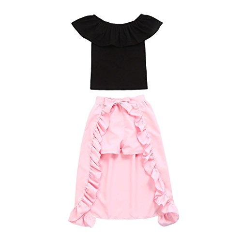Dinlong Toddler Kids Baby Girls Off Shoulder Denim Tops+Floral Flares Pants Clothes Outfits Set (18-24 M, Black a)