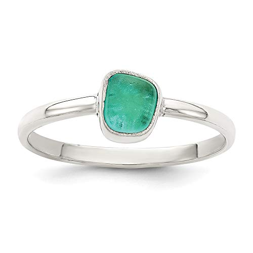 925 Sterling Silver Teal Sea Glass Band Ring Size 6.00 Stone Fine Jewelry Gifts For Women For Her