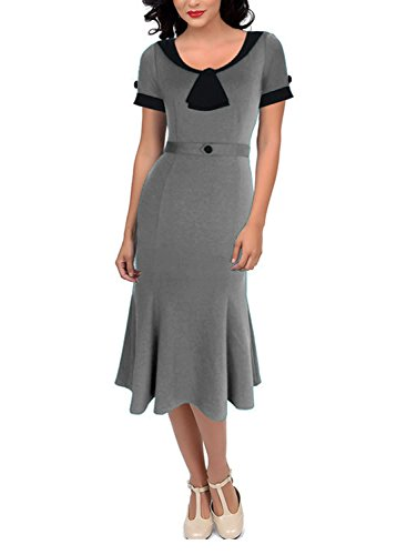 REMASIKO Womens Vintage 1950s Elegant Polka Dot Bow-knot Cocktail Party Dress (Large, Grey) ()