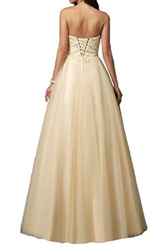 Royaldress Beige Spitze Herzausschnitt Abendkleider Ballkleider Partykleider Lang A-linie Rock