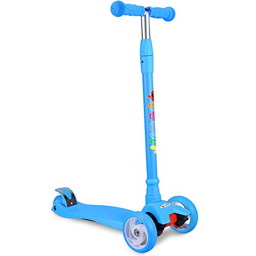 BELEEV Kick Scooter for Kids 3 Wheel Scooter, 4 Adjustable Height, Lean to Steer with LED Light Up Flashing Wheels for Children Ages 3-13 Years Old (Blue)