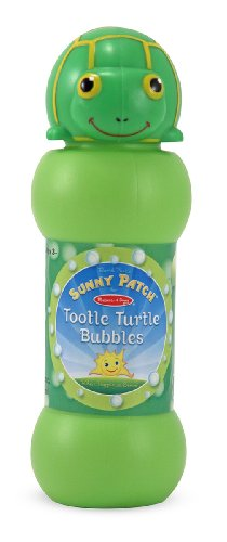 (Melissa & Doug Sunny Patch Tootle Turtle Bubbles - Large and Small Wands, Tray)