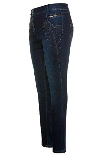 Coupe Fonc Curvy Haute Popken Grandes Taille Ulla 4 Ceinture Boutonne mi Pantalon 713819 Femme Bleu Tailles Argent Poches Strass Coloris Pierres 0XxpTq
