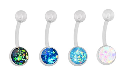 AtoZ Piercing Double Opal Stone Internally Threaded 316L Surgical Steel Belly Button Ring Jewelry