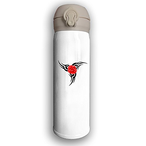 Tribal With Rose Stainless Steel Water Bottle With Splash Proof Lid For Hot & Cold Beverage, 17 OZ