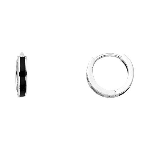 - 14K Solid White Gold Designed Onyx Hoop Huggie Earrings