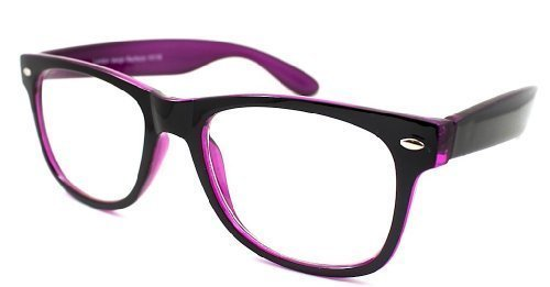 f41f905f001d Designer Retro WAYFARER STYLE CLEAR LENS GLASSES GEEKY NERD FRAME Two tone ( Black Purple)  Amazon.co.uk  Clothing