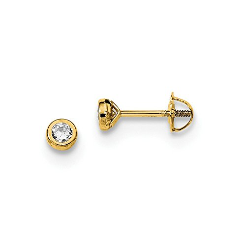 14k Yellow Gold Cubic Zirconia Cz Bezel Post Stud Earrings Fine Jewelry Gifts For Women For Her