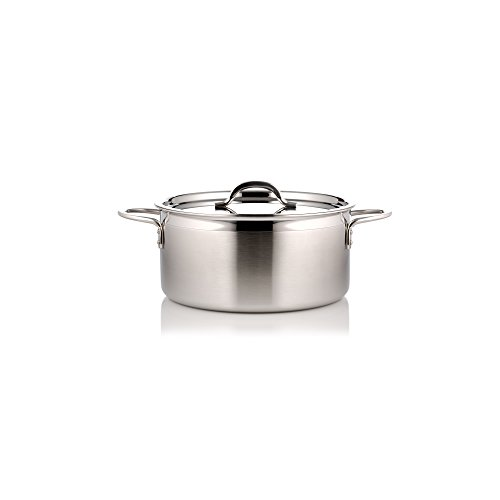 Two Tone Pot - Bon Chef 60300-2ToneSS Country French Two Tone, 2.3 quart Pot with Cover, Stainless Steel