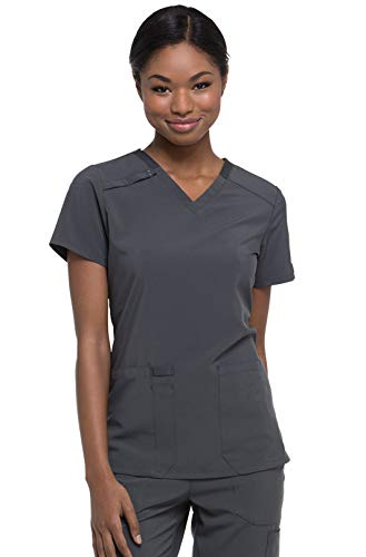 (Dickies EDS Essentials Women's V-Neck Solid Scrub Top (Pewter, Small))