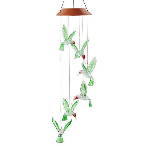 Solar Windchimes,HTIANC Hummingbird Wind Chime Color Changing LED Chimes for Garden,Party(6 Hummingbird)