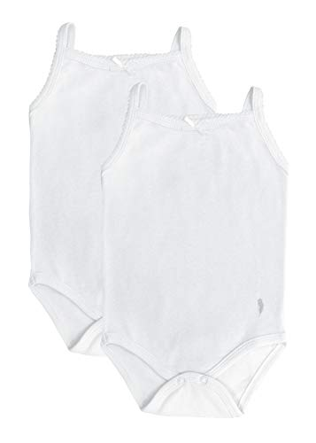 Baby White Tank - Feathers Baby Girls Solid White 100% Cotton Super Soft Camisole Onesies 2-Pack