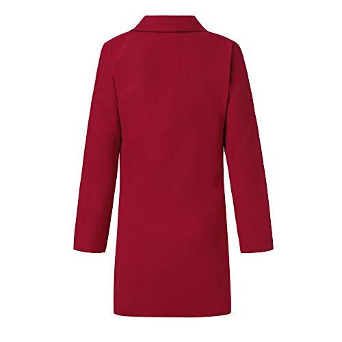 Rojo Piel Con Beladla Elegante De Abrigo Cortavientos Trench Outwear Cuello Chaqueta V Coat Larga Jacket En Bolsillo Mujer wUpwxfqH