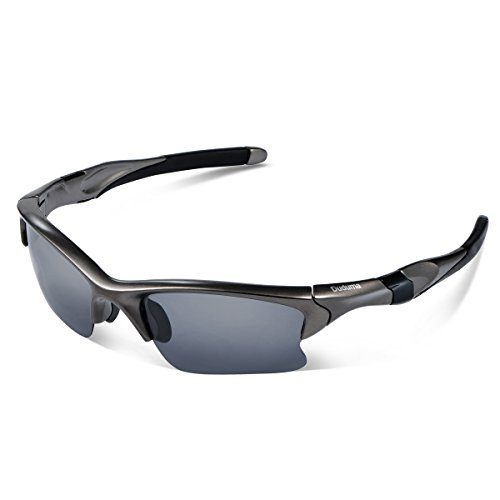 Duduma Polarized Sports Sunglasses for Men Women Baseball Fishing Golf Running Cycling Driving Softball Hiking Floating Unbreakable Shades Tr566(Silver gray frame, Black lens)