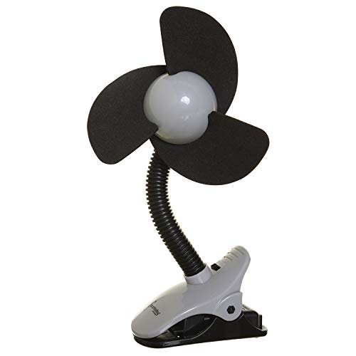 Dreambaby Deluxe EZY-Fit Clip on Fan with Soft Foam Fins - Perfect for Strollers, Cribs, Wheelchairs, Beach, Pool, Much More!, Black/Grey