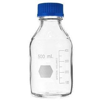 Glass Media Bottles (100ml Safety Coated Glass Media Storage Bottles, Round, with GL45 Screw Cap, 56x100mm, Karter Scientific 214G3)