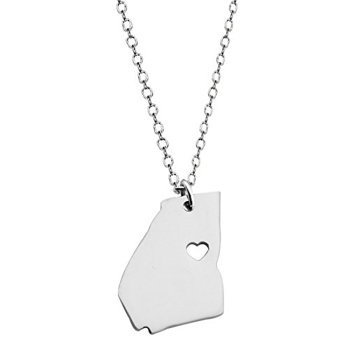 - KUIYAI Country Map Charm Pendant State Shaped Necklace with a Heart (Silver Georgia)