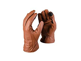 Dwellbee Men's Classic Leather Winter Gloves , Large (French Morocco Leather, Brown)
