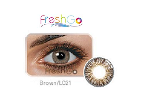 Case for Color Contacts Eye Lenses FreshGo Cosmetic Makeup Lens Last 1 Month!   (Brown)