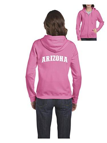 Womens Pink Arizona Zip - Arizona Traveler`s Gift Women's Full-Zip Hooded (2XLAP) Azalea Pink