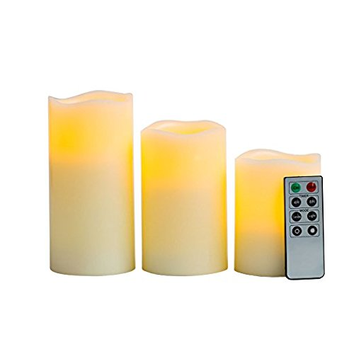 Set of 3 Melted Edge Flameless Ivory Wax Variety Pillar Window Candles, Remote Included, Batteries Included, Timer and Dimmer Options (Development Options compare prices)