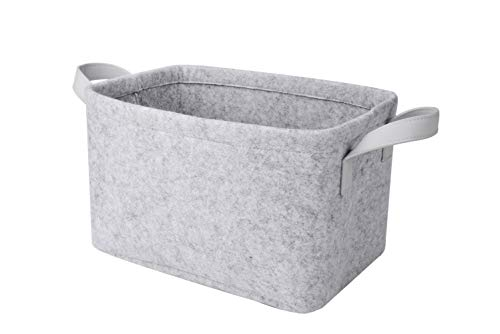 Rhyan Felt Storage Basket/Bin with PU Handles, Collapsible & Convenient Storage Solution for Office, Bedroom, Closet, Toys, Laundry(Light Gray) -