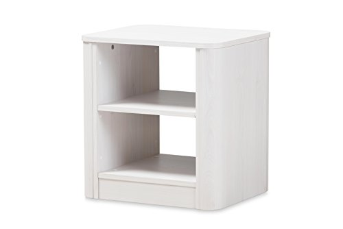 Baxton Studio Cajsa Modern 2-Drawer Nightstand, Regular - Modern and contemporary nightstand and side table Whitewashed finishing Two open shelves - nightstands, bedroom-furniture, bedroom - 31lvAMnARjL -