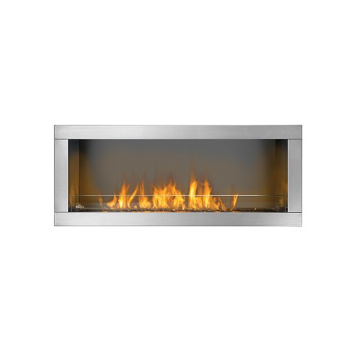 Napoleon Galaxy GSS48 Single Sided 55 000 BTU's Linear Outdoor Fireplace with ''Easy Start'' Electronic Ignition 304 stainless steel burner Propane Gas Conversion Kit and Topaz CRY by Napoleon