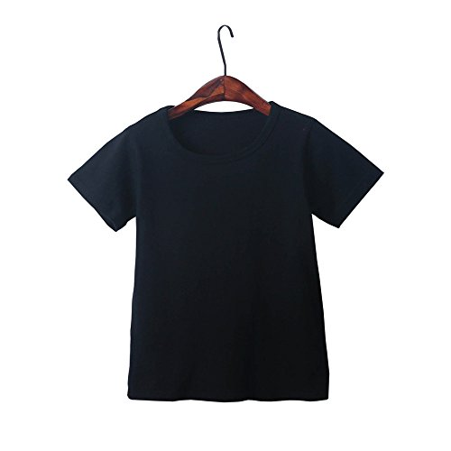 Kids Cheap T Shirts,Boys Solid Candy Color Tee Tops Little Girls T Shirts Pajama Shirts.(Black,100) by Wesracia (Image #4)