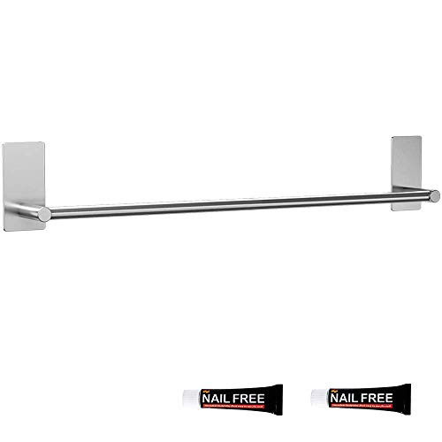 LuckIn 32 Inch Towel Bar Self Adhesive Towel Rod, No Drill Towel Holder Self Stick Wall Towel Rod, Stainless Steel Towel Hanger Rail Damage Free Hanging for Bathroom, TR016032S