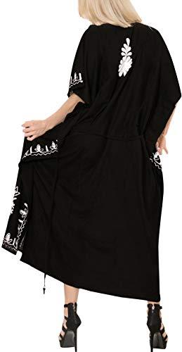 costume delle da LA bagno del caftano Nero bagno donne d637 da di rayon vestito designer kimono lungo LEELA beachwear costumi wq68F