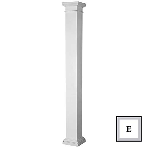 Endura-Stone Square Non-Tapered Column (FRP), Smooth Paint-Grade, Tuscan Capital & Base, 8