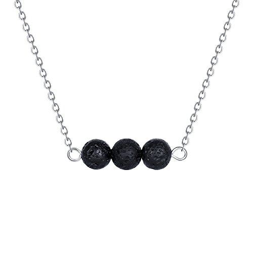 Wunionup Lava Rock Stone Diffuser Necklace - Minimalist Natural Small Black Volcanic Essential Oils Diffuser Lava Aromatherapy Bar Ball Stone Beads Choker Jewelry Necklace Stainless Steel