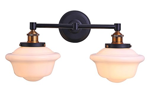 Linea 2 Light Sconce - Lavagna 2 Light Bathroom Vanity Black with Milk Glass Linea di Liara LL-WL272-MILK-AB