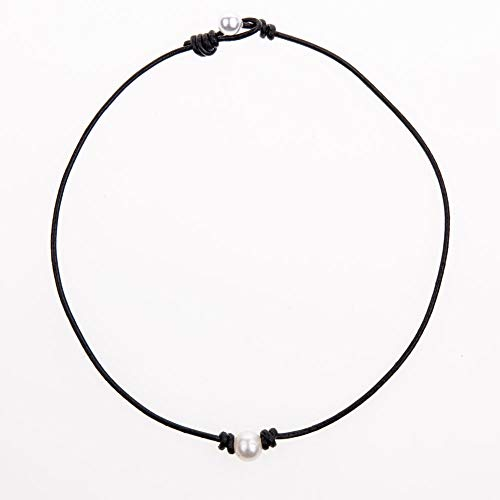 Bodai Handmade Genuine Leather Choker Necklace for Women Freshwater Pearl Jewelry