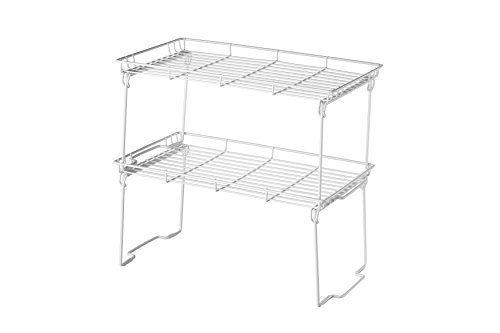 Kitchen Cabinet and Counter Shelf Additional Organizer Tray 15 L x 9 W x 7.5 H (Large (Pack of 2), White)