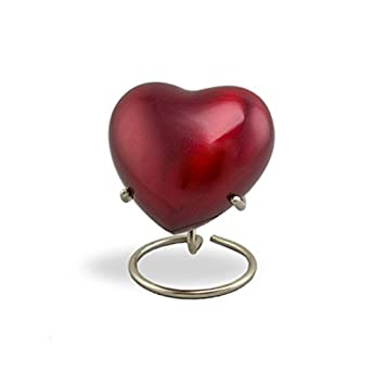 OneWorld Memorials Trinity Crimson Bronze Keepsake Urns – Extra Small – Holds Up to 3 Cubic Inches of Ashes – Crimson Red Cremation Urn for Ashes – Engraving Sold Separately