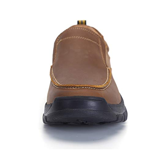 VENSHINE Mens Slip On Loafers Casual Genuine Leather Comfortable Walking Shoes