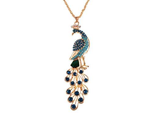 Alilang Golden Tone Blue Green Colored Rhinestone Peacock Bird Pendant Chain Necklace