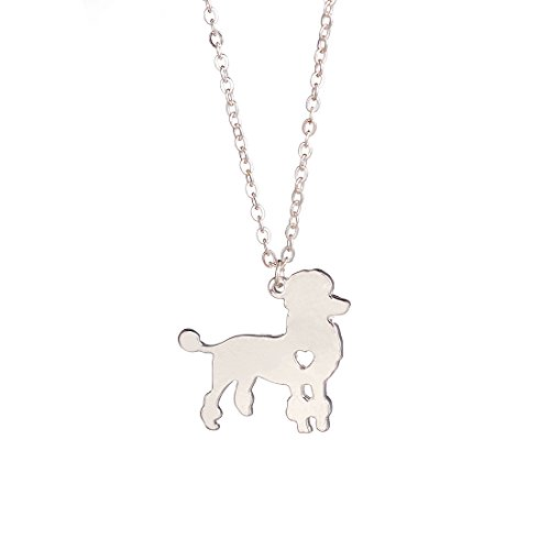 YuQiang Silver Poodle Necklace Dog Pendant Jewelry Breed Pet Jewelry Memorial Gift Hunters lovers
