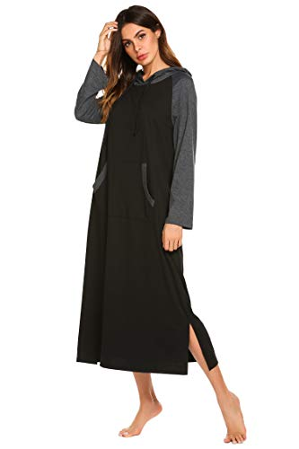 5a9f5ffbbd3 Ekouaer Womens Modal Long Sleeve Nightgown,Casual Full Length Long Sleep  Dress,Black,