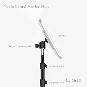 Grifiti Nootle 58 Inch Stand Mini Ball Head Travel Case for 1/4 20 Threaded iPad Mounts, Tablet Mounts, GPS, Cameras Perfect for Ahera, Displays, Tradeshows, and Quick Photos or Videos