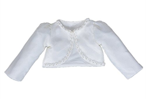 HX Baby Girl's Beaded Long Sleeve Bolero Shrug Jacket Short Cardigan Dress Outerwear (3M/Fit 0-3 Months, Ivory)